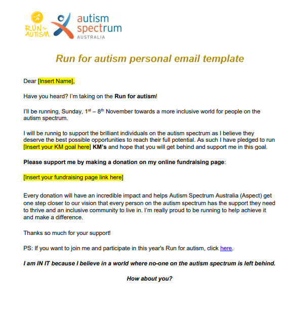 Personal email template